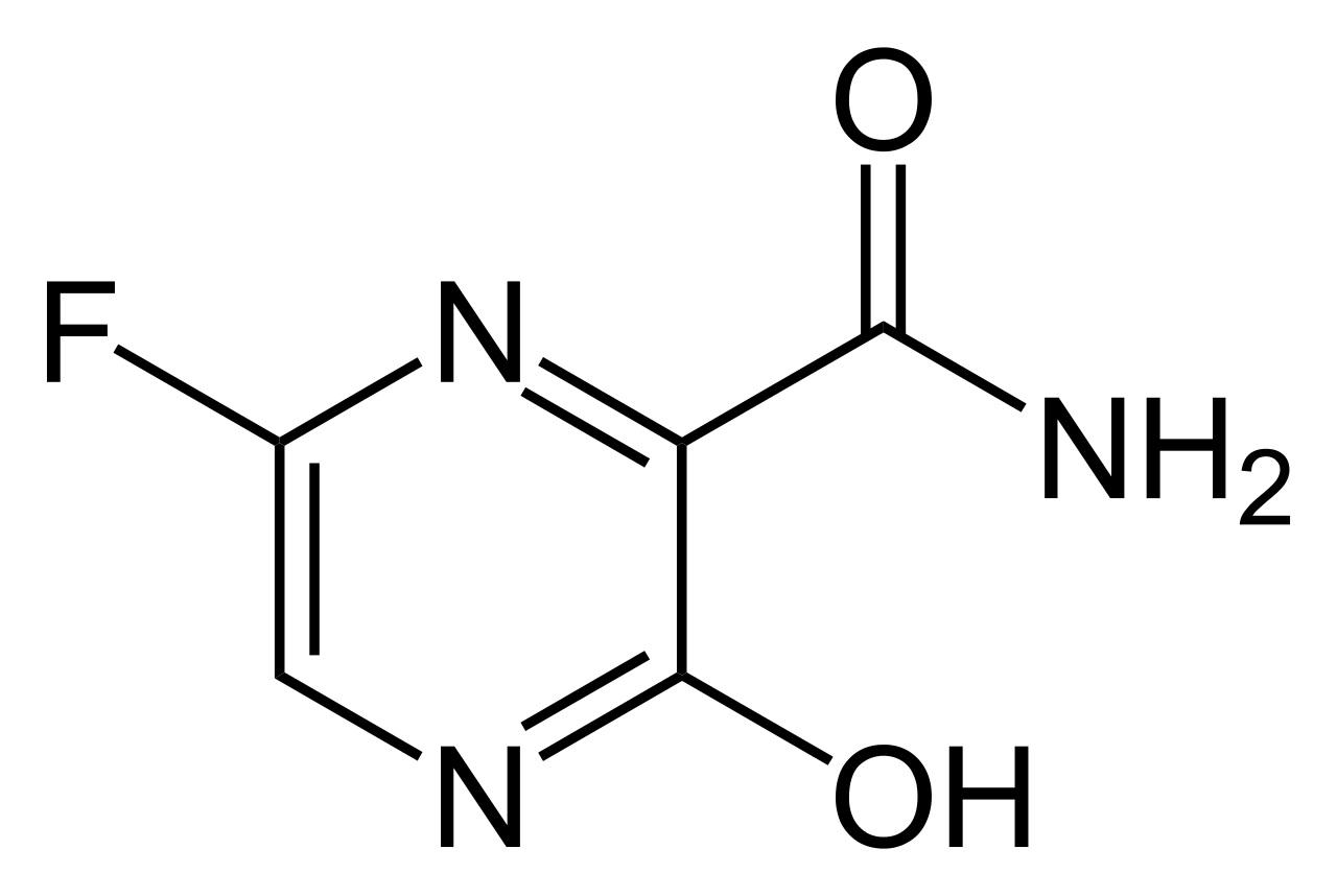 Le favipiravir, dont voici la formule chimique, est produit par Toyama Chemical, une filiale de Fujifilm Holdings. © Yikrazuul, Wikimedia Commons