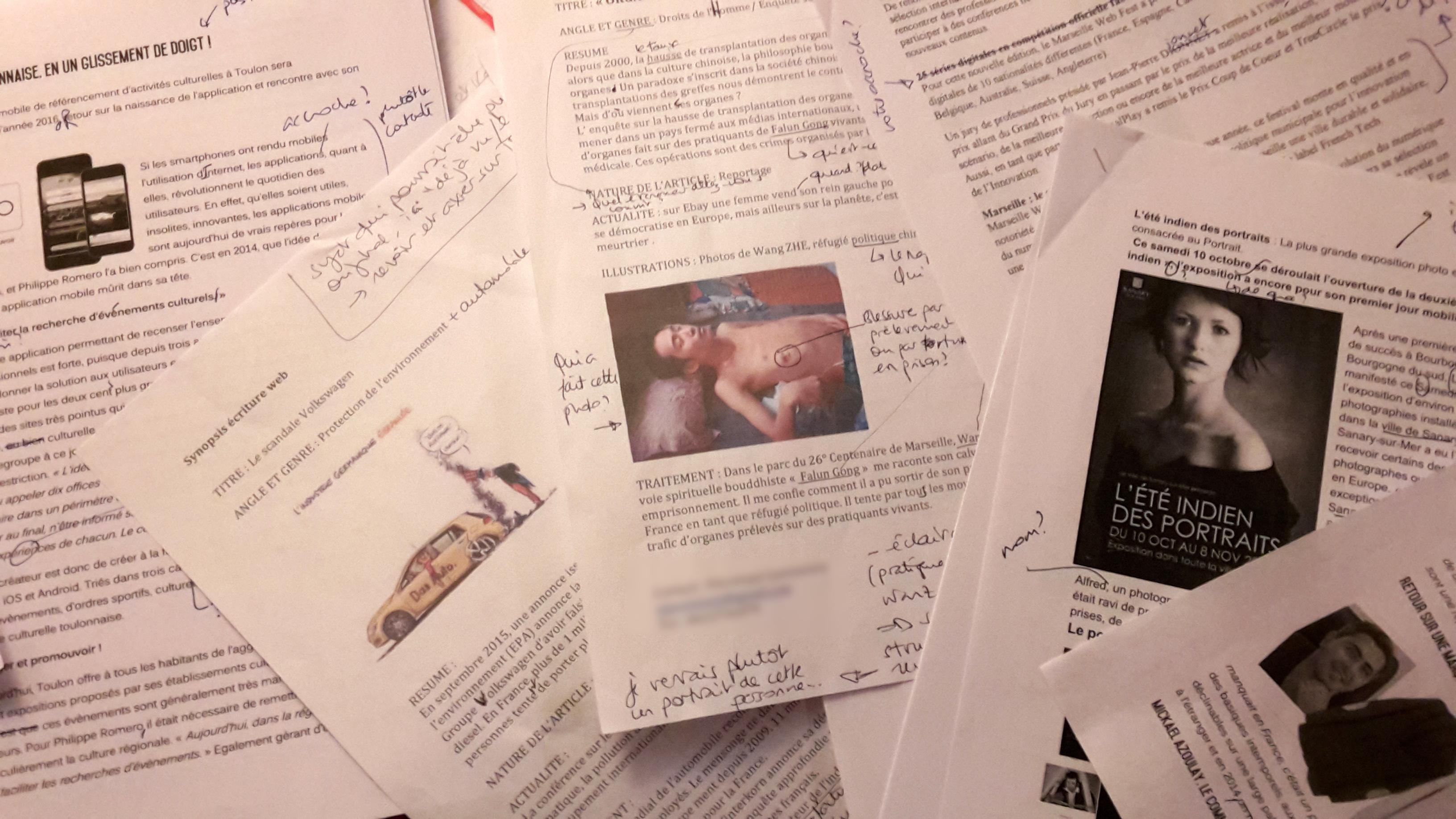 Correction d'articles des étudiants d'Ingémédia, université du Sud Toulon Var. © Andréa Haug