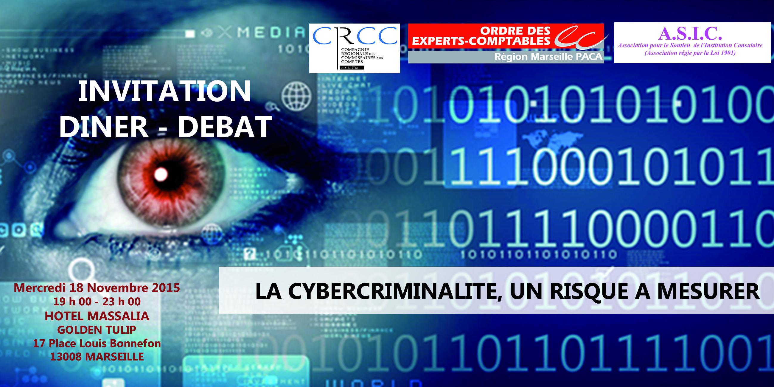 Visuel du dîner-débat sur la cybercriminalité, mercredi 18 novembre 2015, à Marseille  © CROEC Marseille Paca