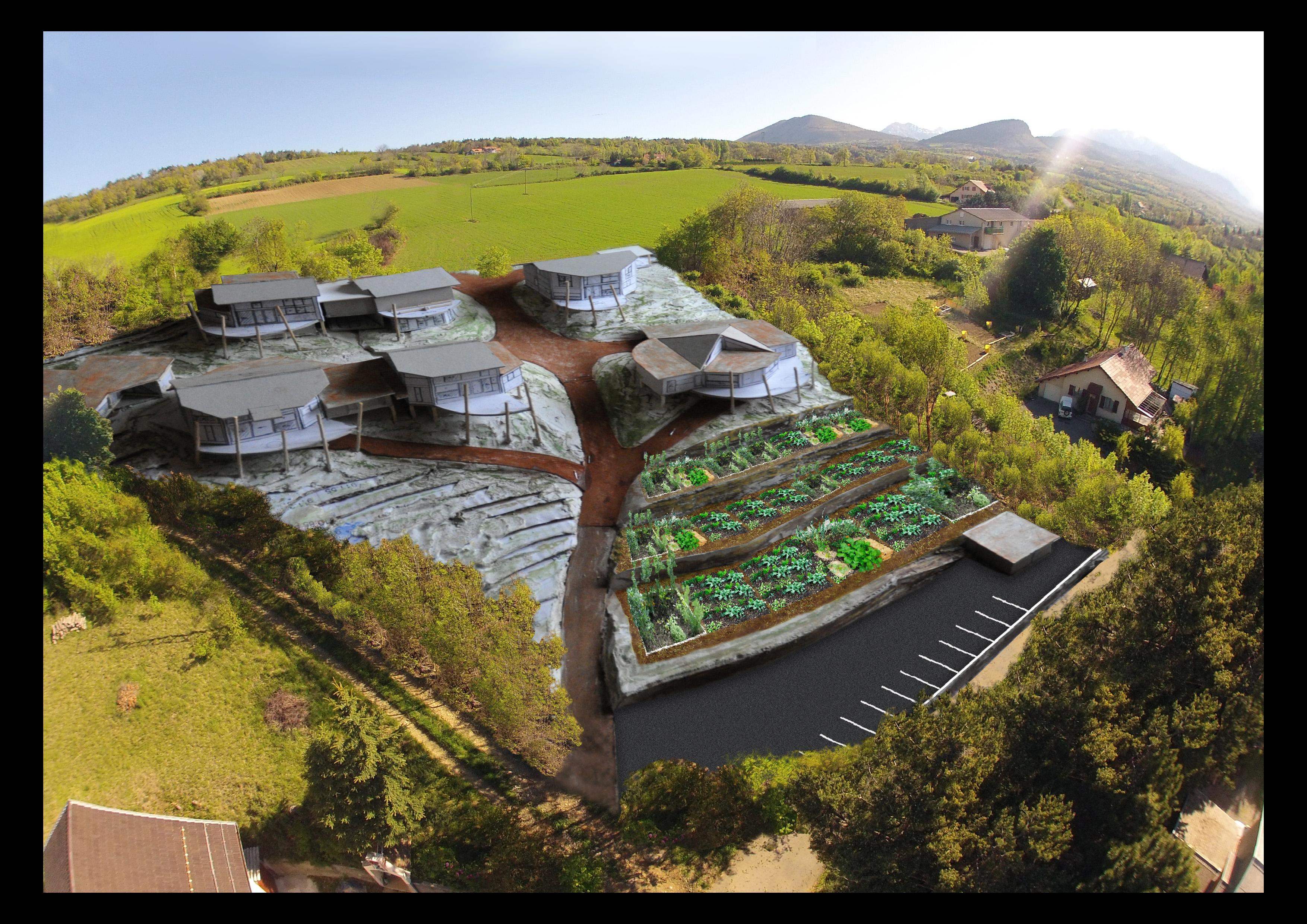 Hameau Les Toits dans le vents, construit sur un projet d'habitat participatif © Les Allouviers