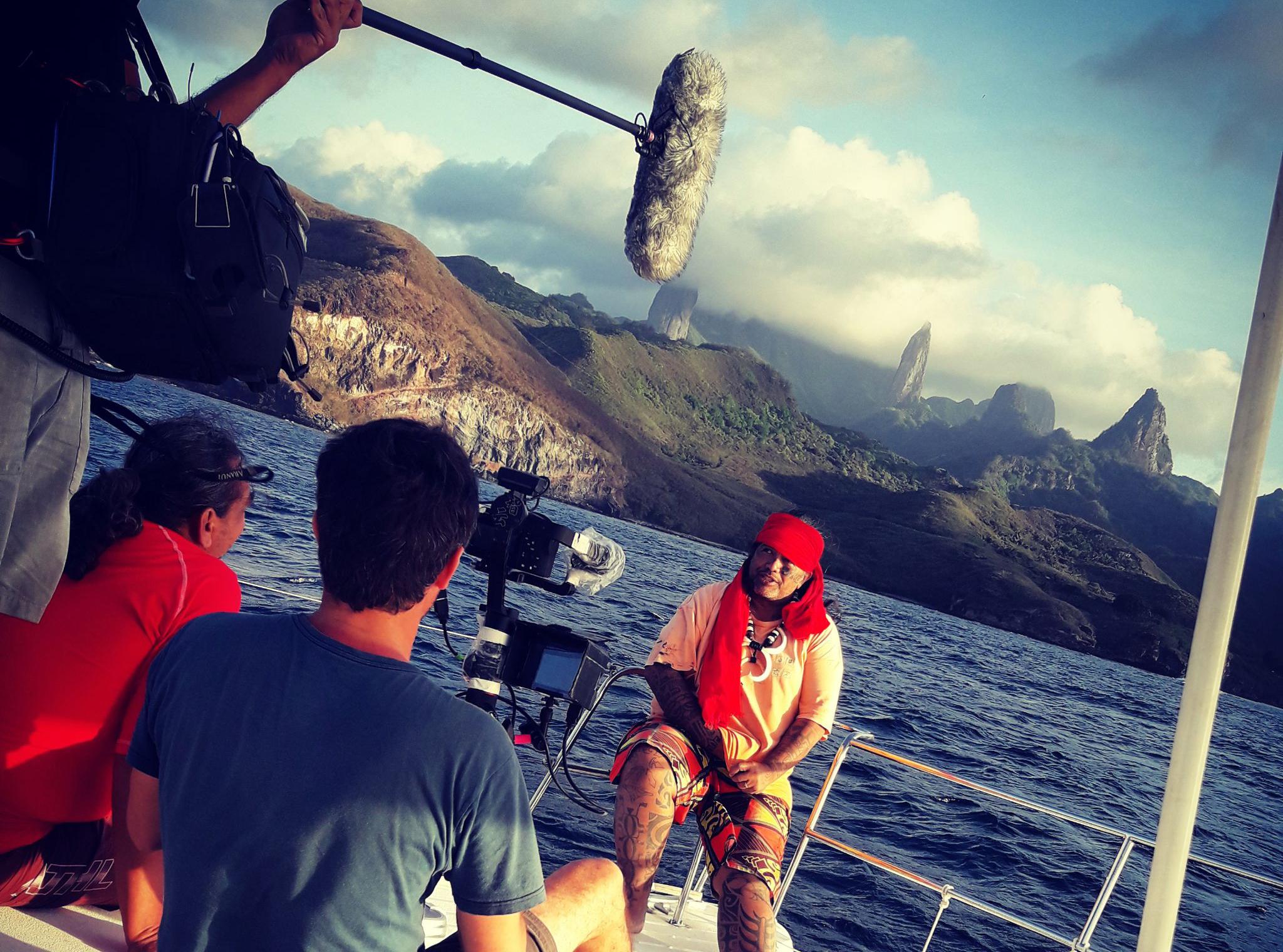 Tournage du film «Te Aranui» aux îles Marquises, Polynésie française © Valentin Fesquet